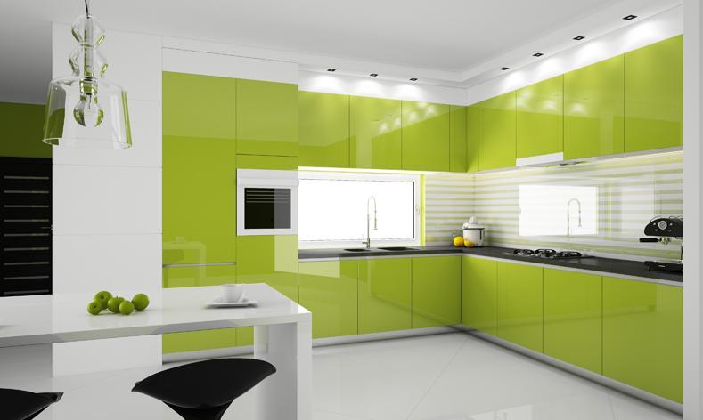 Cucina bianca e verde