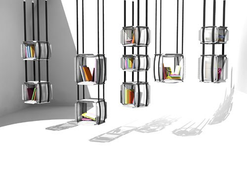 libreria sospesa a soffitto