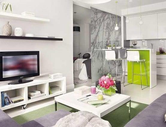 arredo bianco, grigio e verde lime