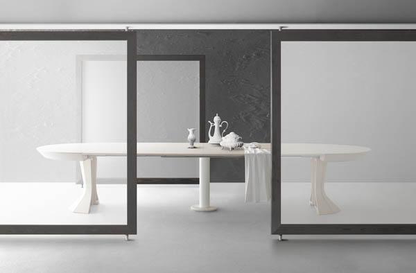 Tavolo rotondo in legno allungabile