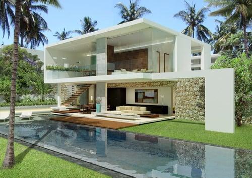giardino con piscina lussuoso