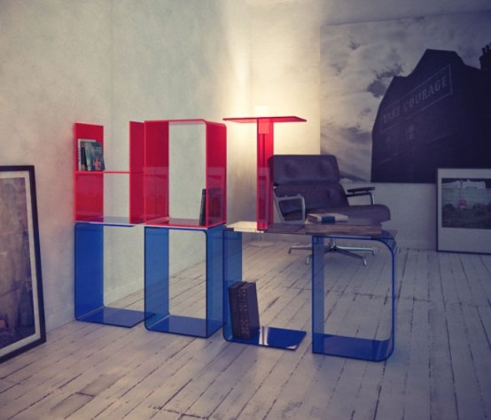 libreria modulare con lettere
