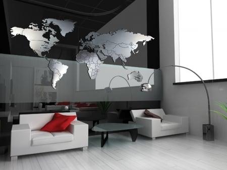 Orologi a muro a forma di cartina for Orologi parete particolari