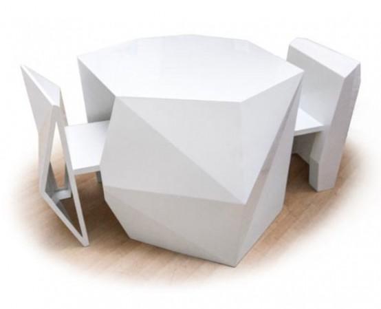 Galleria foto - Tavolo futuristico che da chiuso diventa una scultura Foto 1