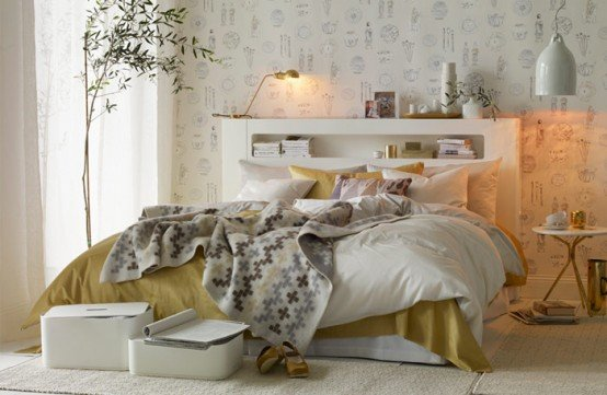 camera da letto bianca e oro