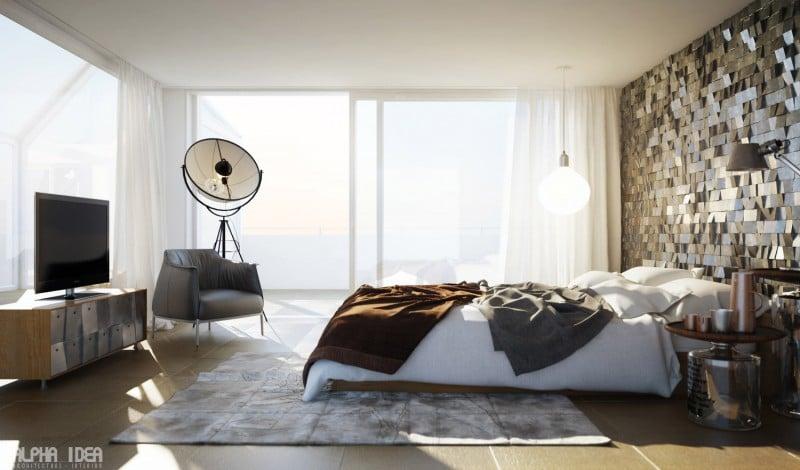 Dipingere le pareti della camera da letto - Camera da letto singola moderna ...