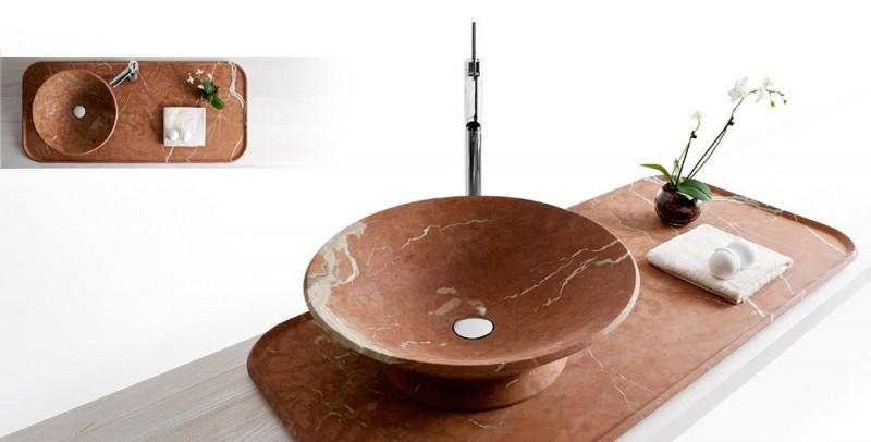 Kreoo collezione bagno in marmo rosso for Aziende design