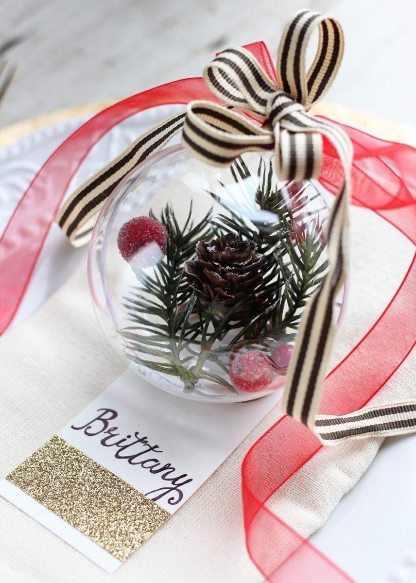 Palline Di Natale Con Rametti segnaposti natalizi fai da te