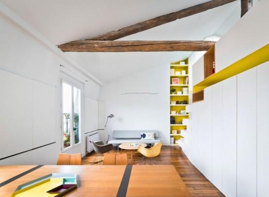 Arredare una mansarda a Parigi: il progetto super colorato