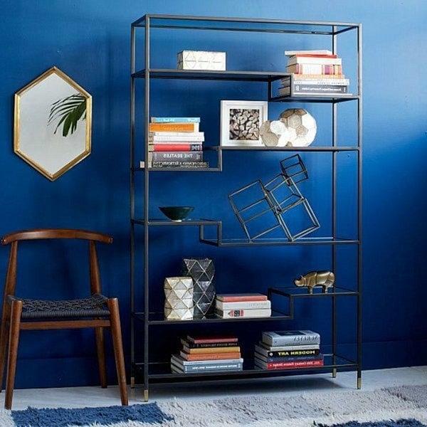 parete-blu-libreria