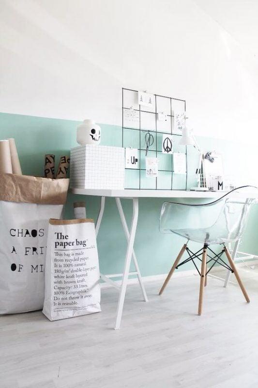 scrivania-parete-verde-bianco