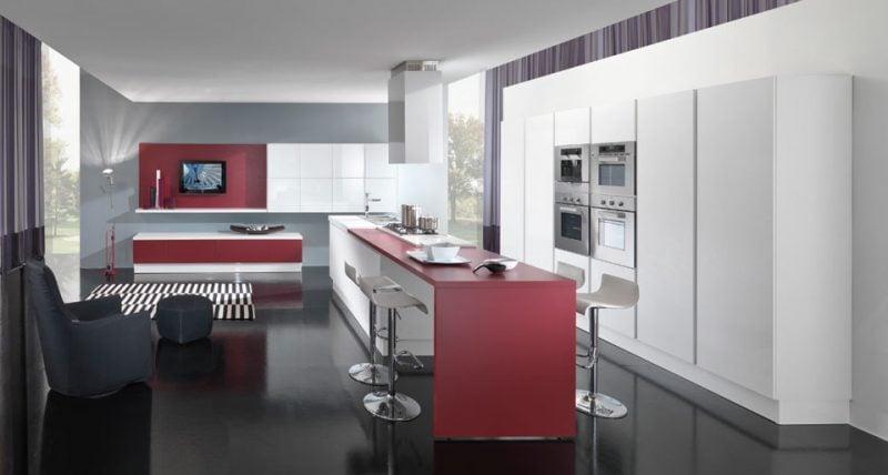 cucina-bianca-rosso-nero