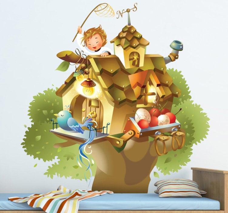 adesivo-bambini-casa-su-albero-5330