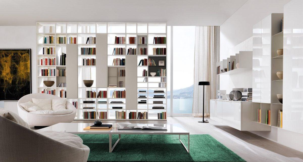 Pareti attrezzate librerie per separare ambienti