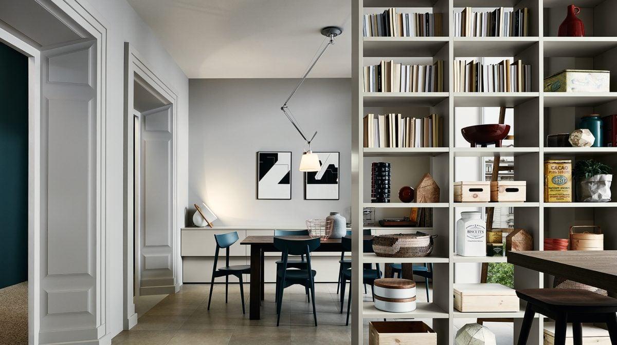 Pareti attrezzate librerie per separare ambienti for Mobili divisori design