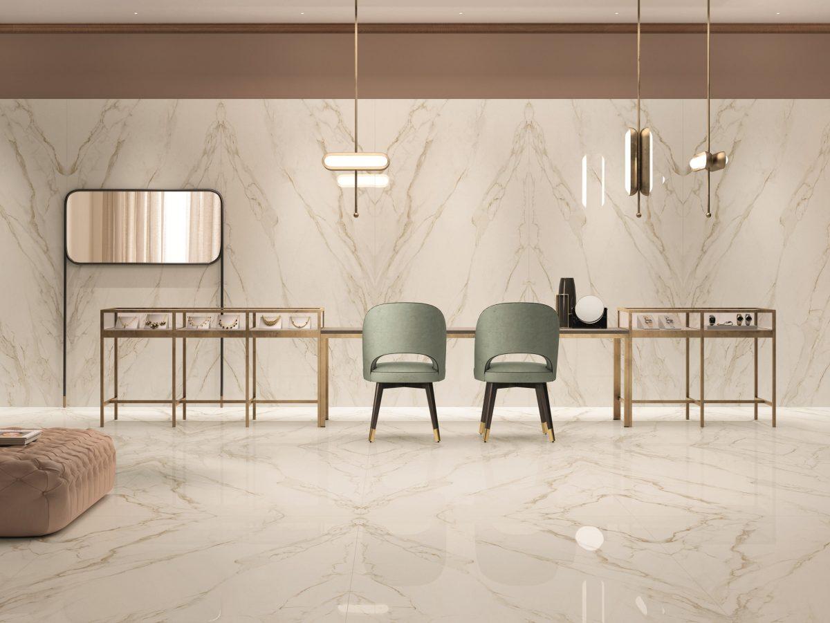 Pavimento Finto Marmo Lucido gres porcellanato effetto marmo
