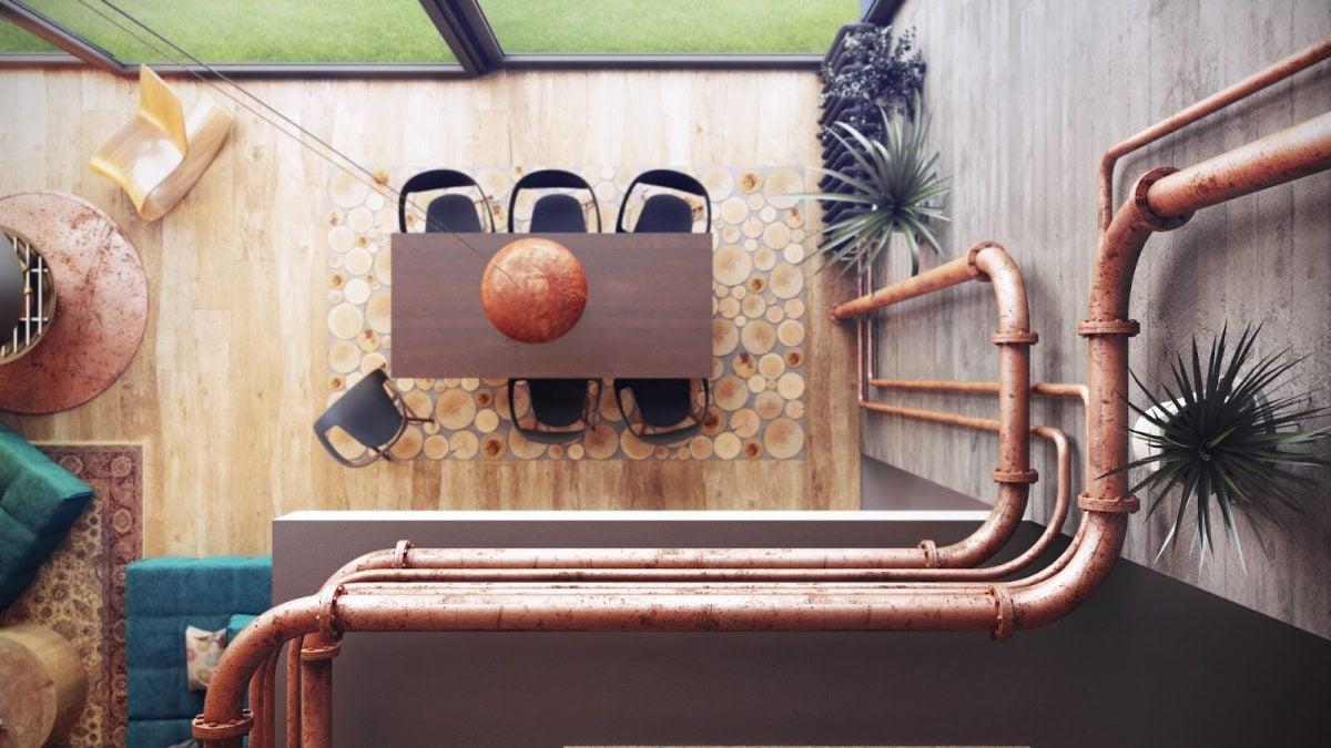 Loft arredamento in stile industriale for Tubi idraulici arredamento