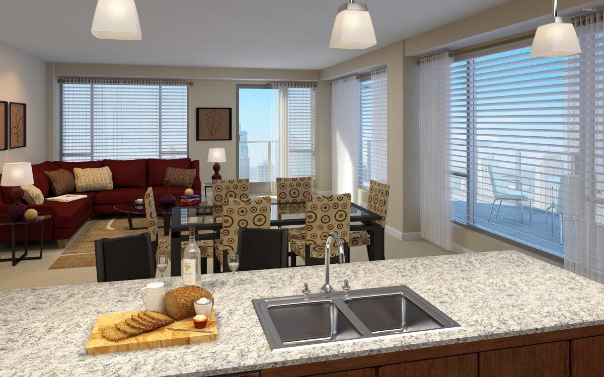 open-space-cucina-soggiorno-terrazzo
