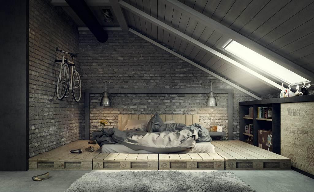 arredare-sottotetto-camera-letto-industriale