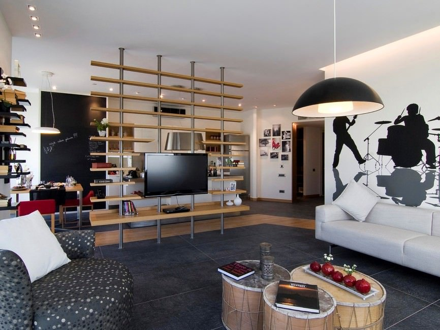 come-separare-stanze-senza-muro-libreria-living-moderno