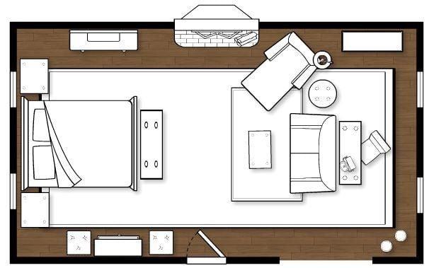 Camera da letto lunga e stretta