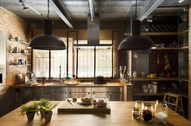 cucina-stile-industriale-illuminazione