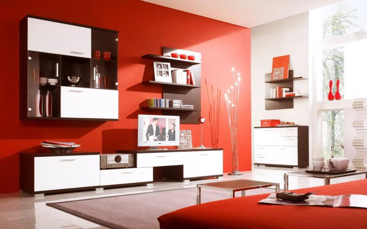 Parete Soggiorno Rossa.30 Idee Per Arredare Il Soggiorno In Bianco E Rosso