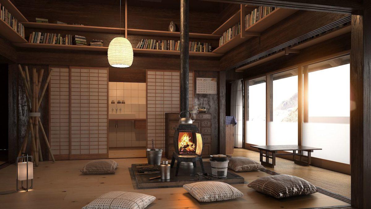 soggiorno-stile-giapponese-camino-moderno
