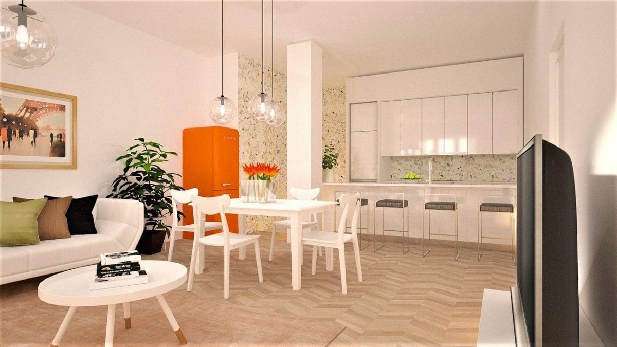 cucina-arancione-frigorifero