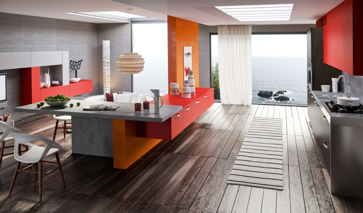cucina-arancione-moderna