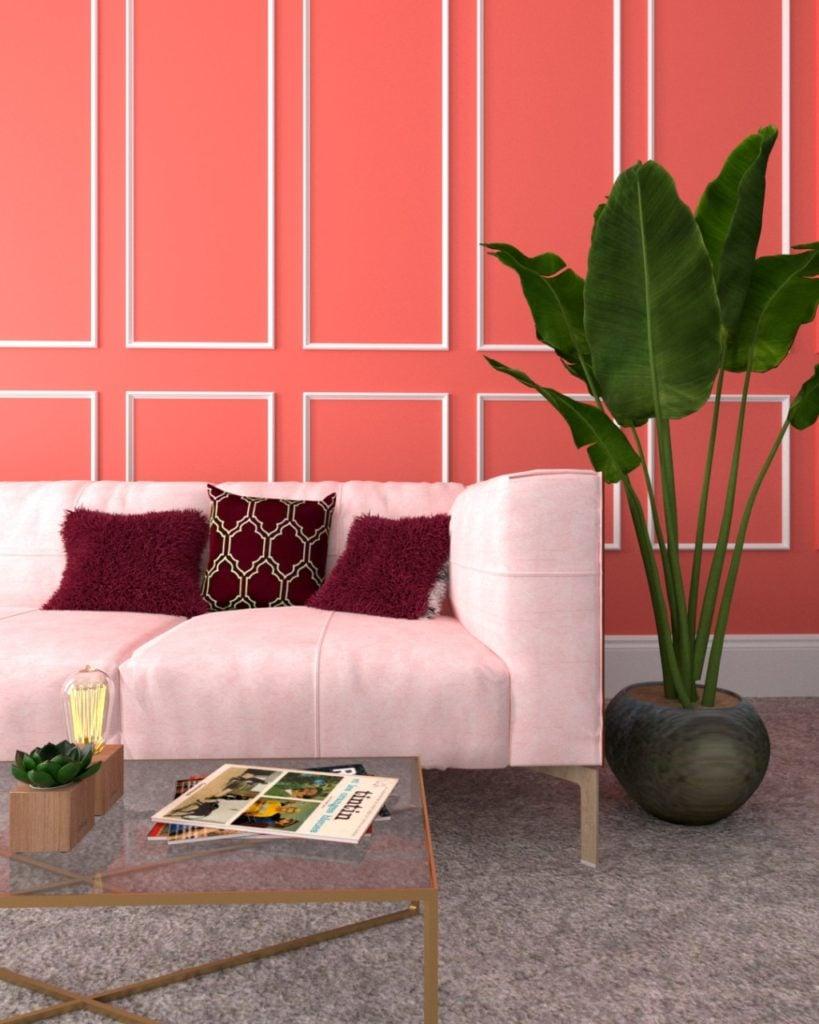 soggiorno-color-corallo-boiserie