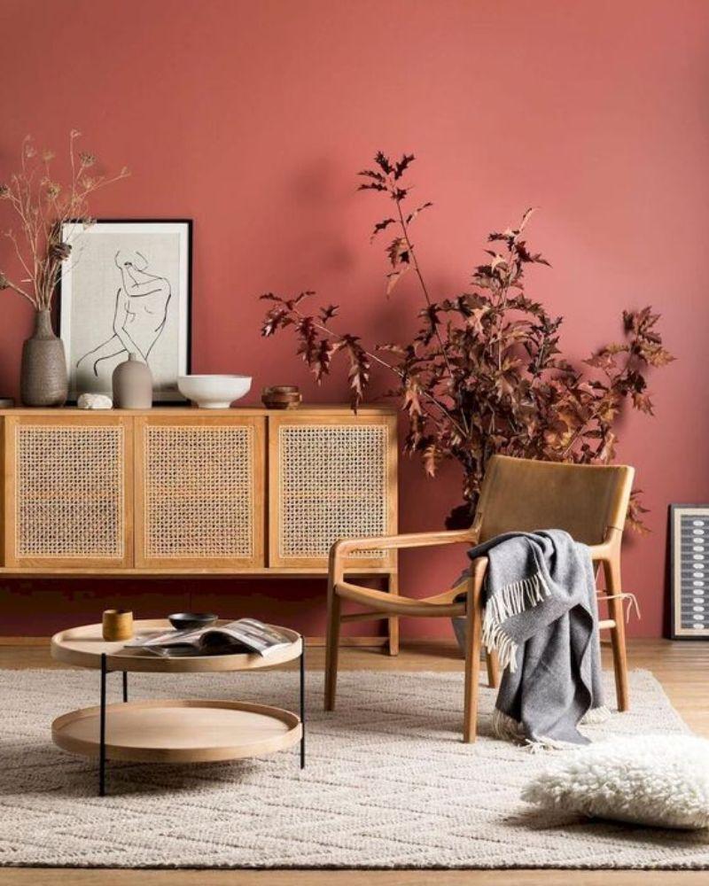 soggiorno-color-corallo-parete