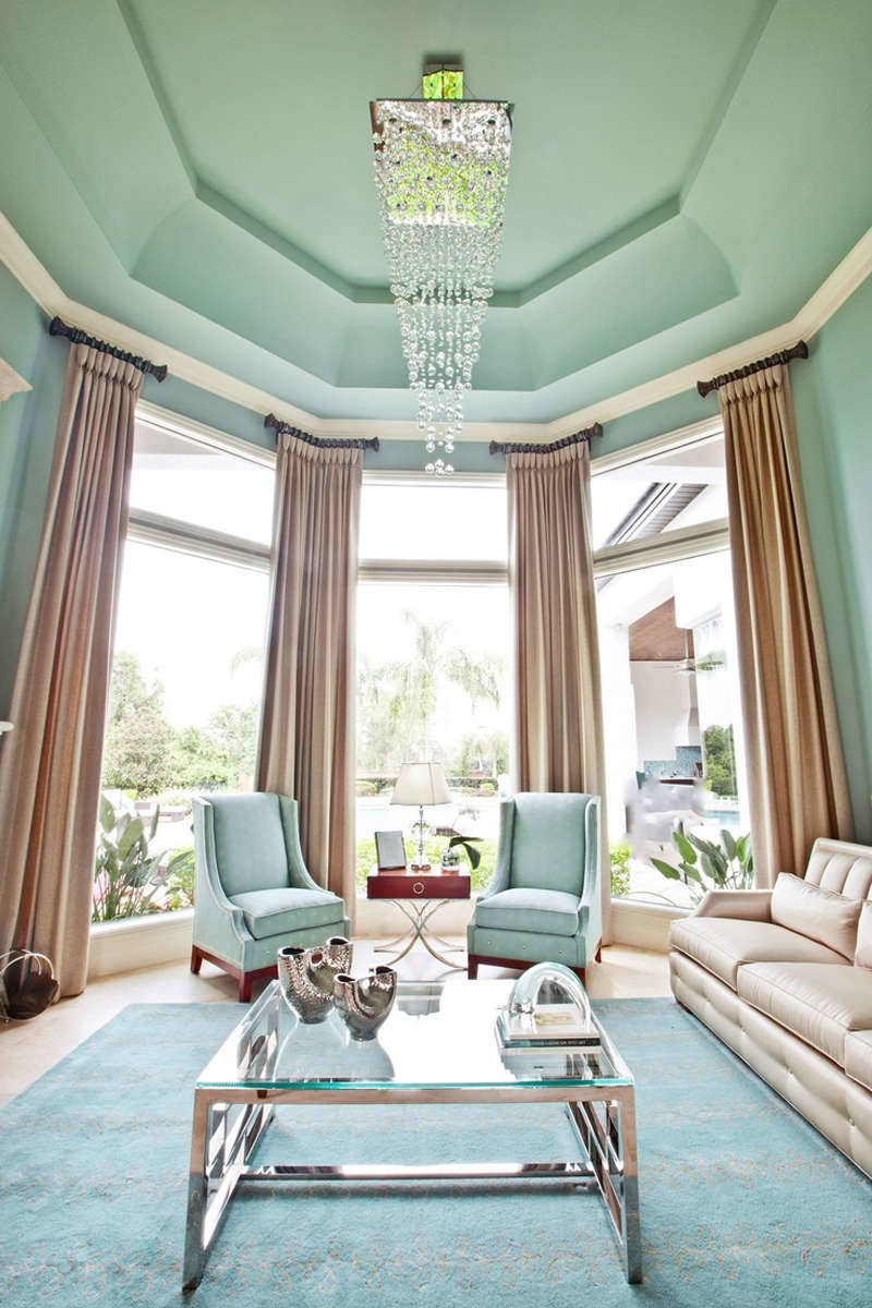 soggiorno-verde-menta-soffitto