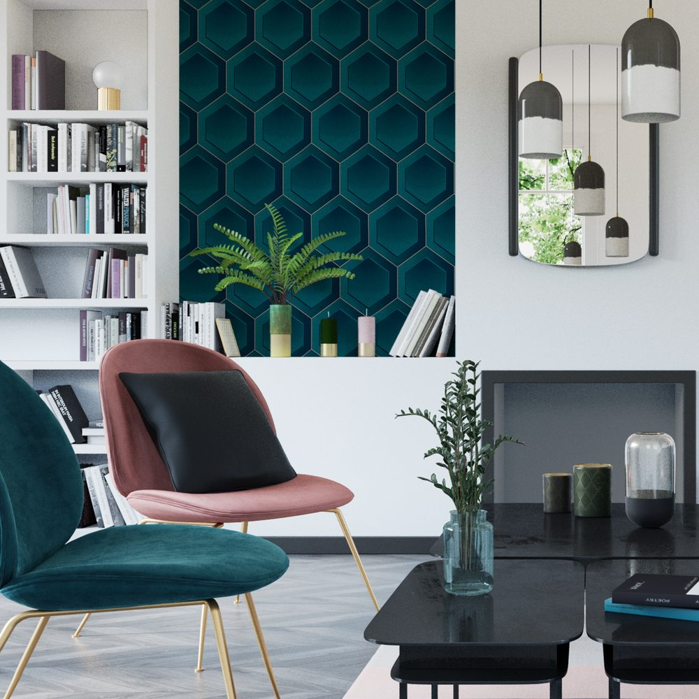 soggiorno-verde-petrolio-parete-contrasto