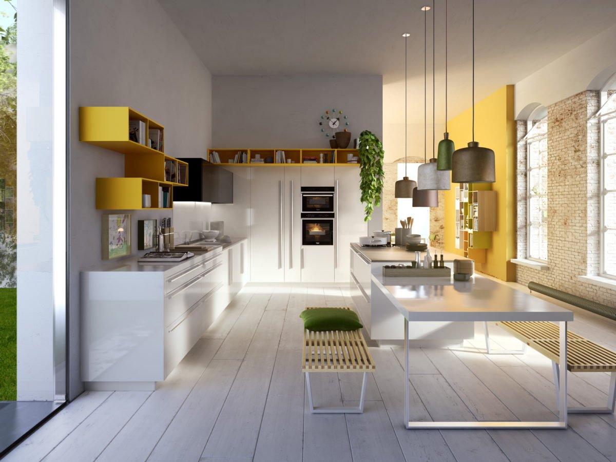 cucina-giallo-mango-moderna