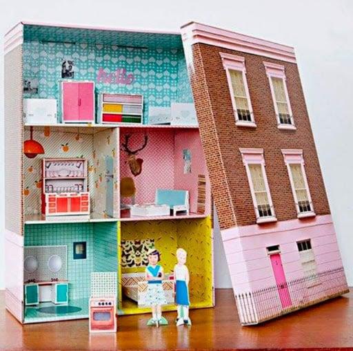 riciclare-scatole-scarpe-casa-bambole