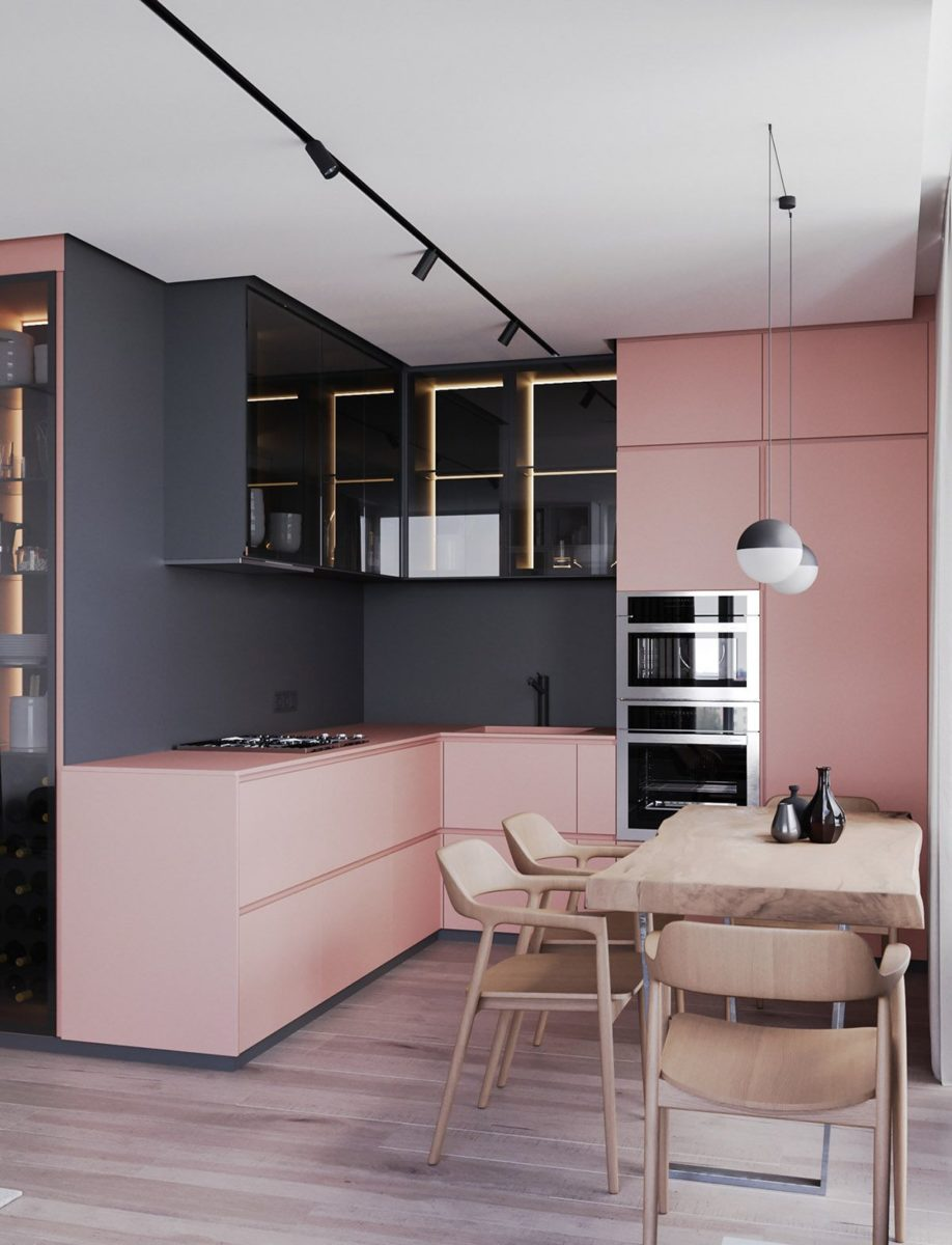 arredare-cucina-rosa-minimal