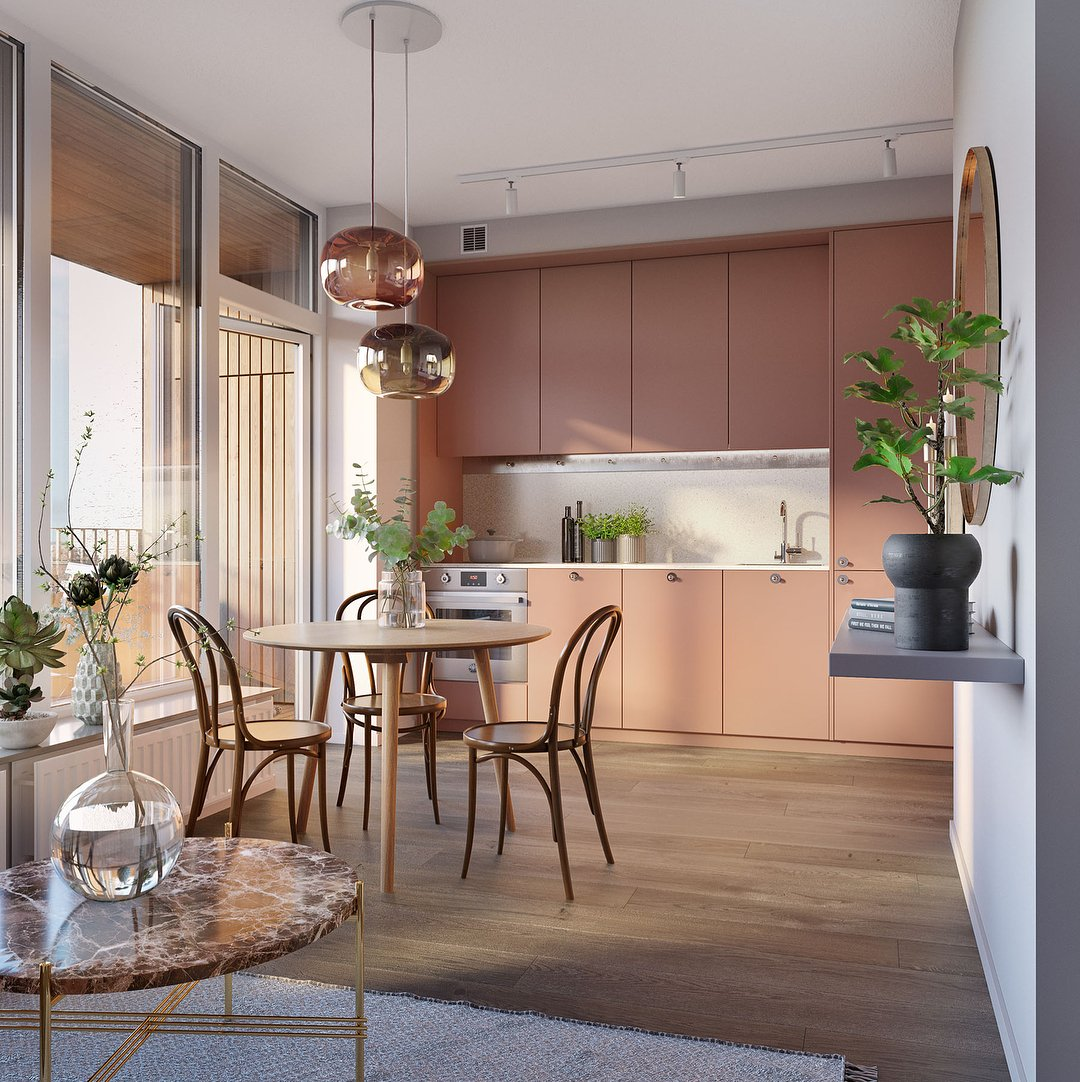 arredare-cucina-rosa-scandinavian