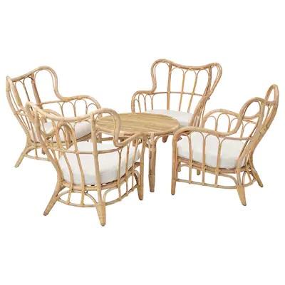 ikea-set-sedie-tavolino-mastholmen-rattan