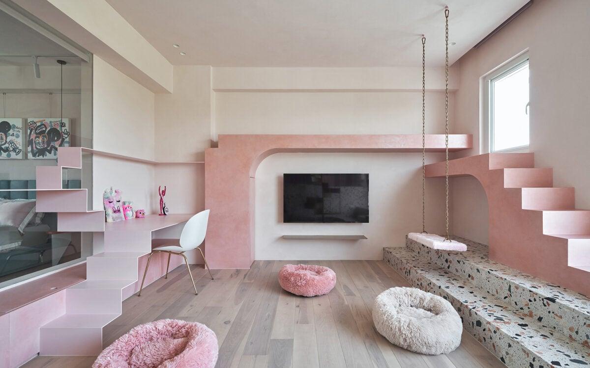 soggiorno-rosa-moderno