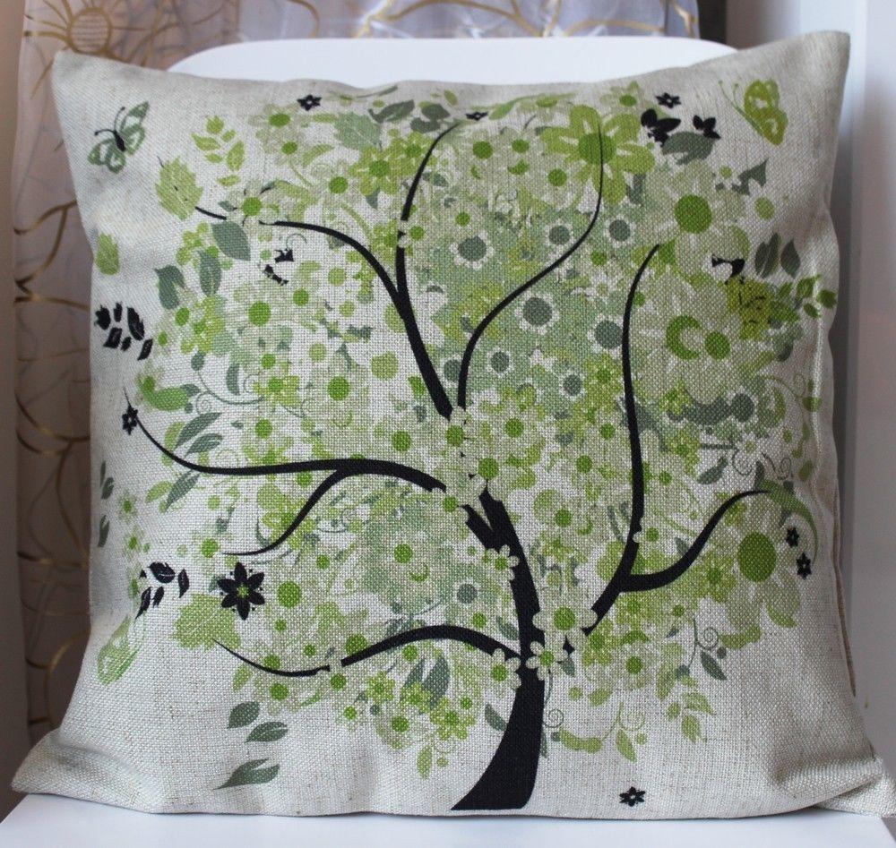 Nuovo-Shabby-Chic-Verde-Albero-Gettare-Pillow-Case-Cuscino-Vintage-Lino-Cassa-a-Cuscino-Decorativo-Domestico