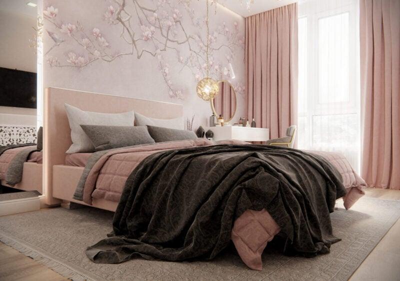 Idee di rosa antico per le pareti della camera da letto