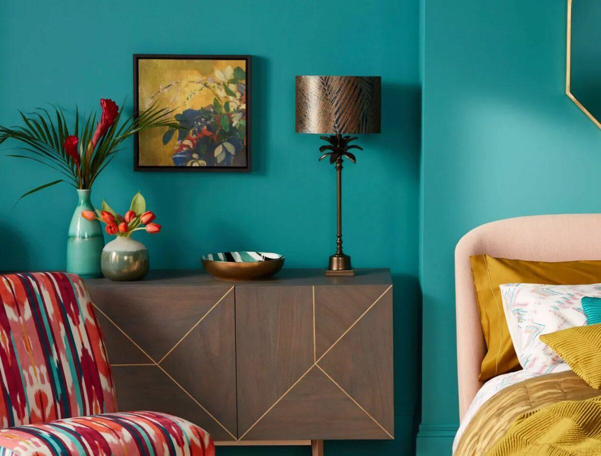 Pareti del soggiorno color ottanio