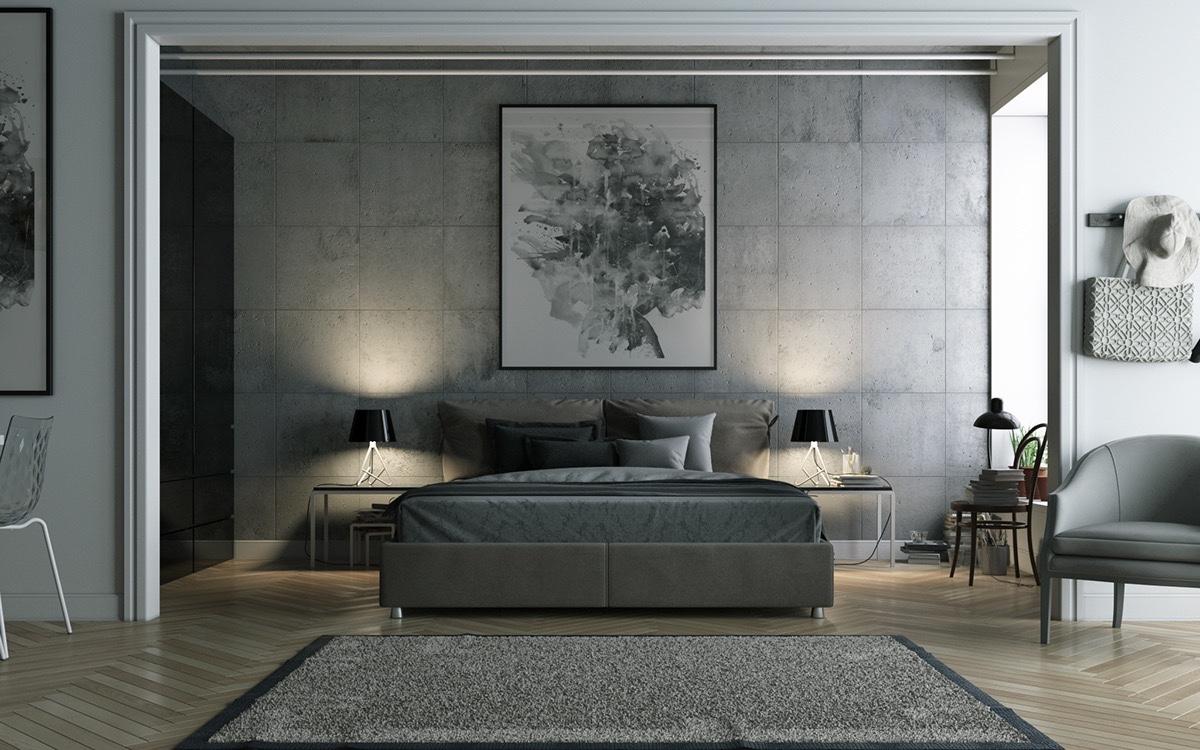 Camera da letto pareti color grigio