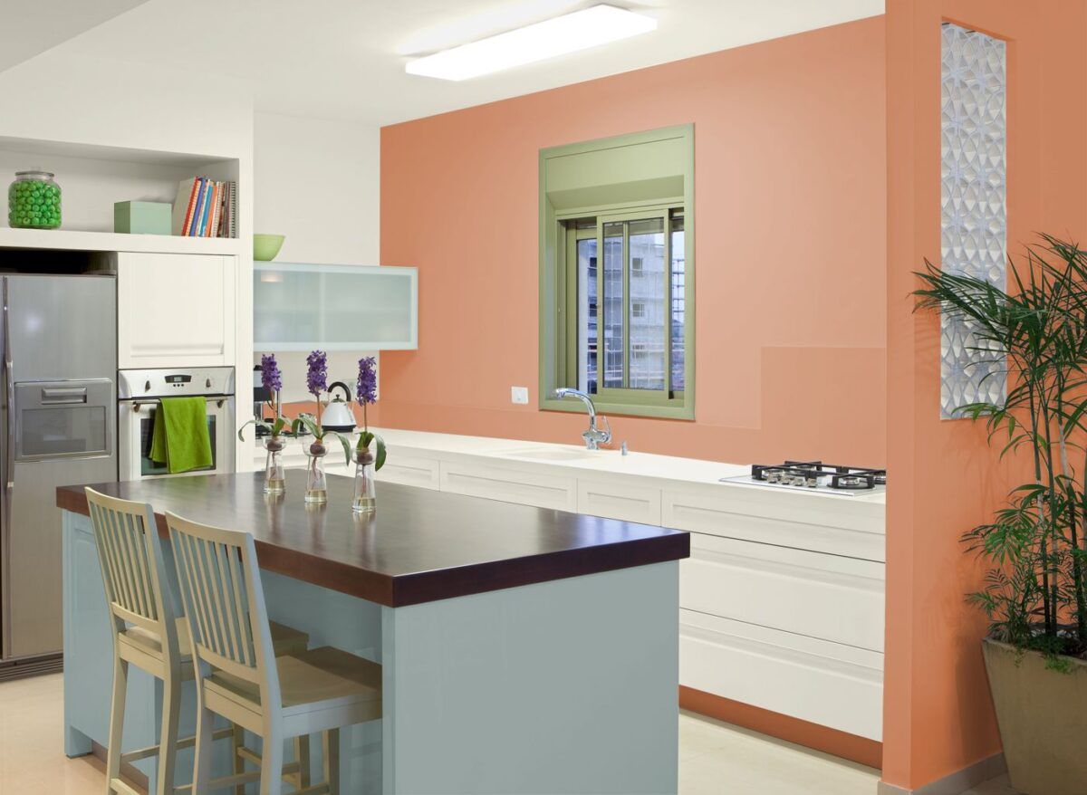 Cucina pareti color albicocca