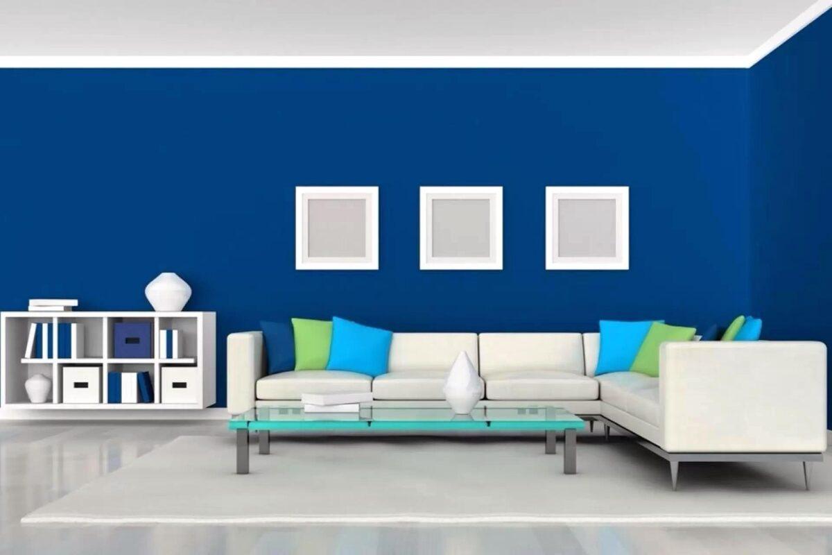 Soggiorno pareti color cobalto: spunti eleganti