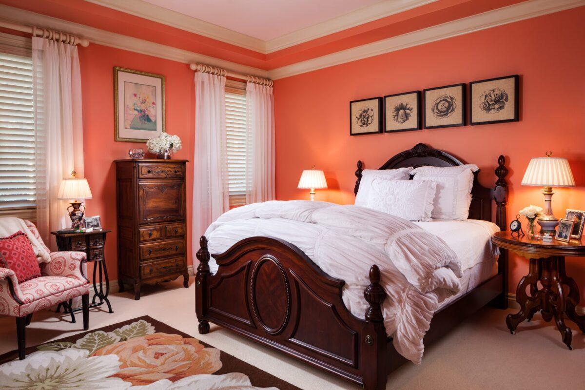Camera da letto pareti color aragosta