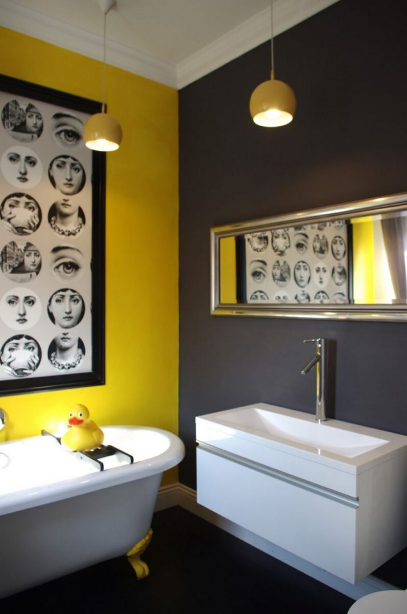 Bathroom With Yellow Grey Wall Colors Ideas For The House