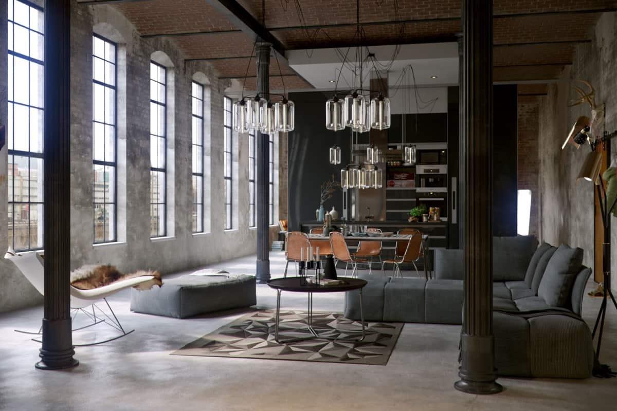 Stile-industrial-chic-arredare-il-soggiorno-5