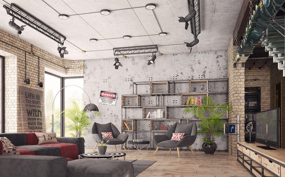 Stile-industrial-chic-arredare-il-soggiorno-7